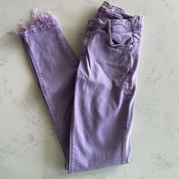 Zara Purple Raw Edge Jeans